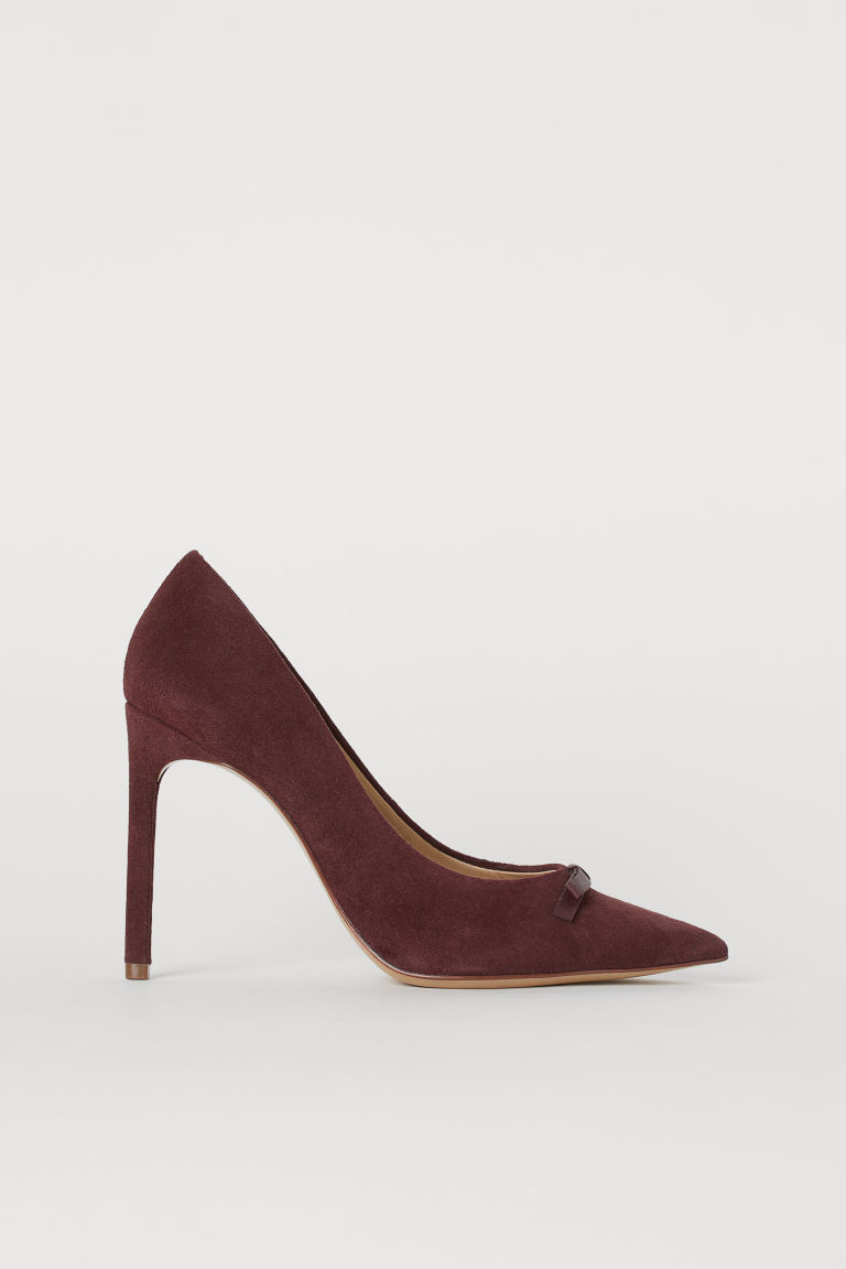 Suede court shoes - Burgundy - Ladies | H&M IN