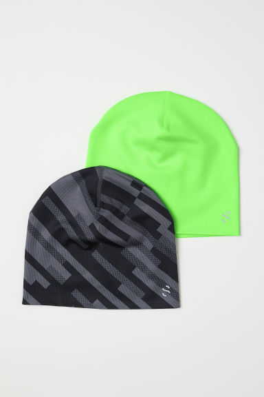 2-pack reversible hats - Neon green/Grey - Kids | H&M