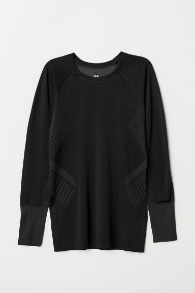 Long-sleeved sports top - Black - Ladies | H&M