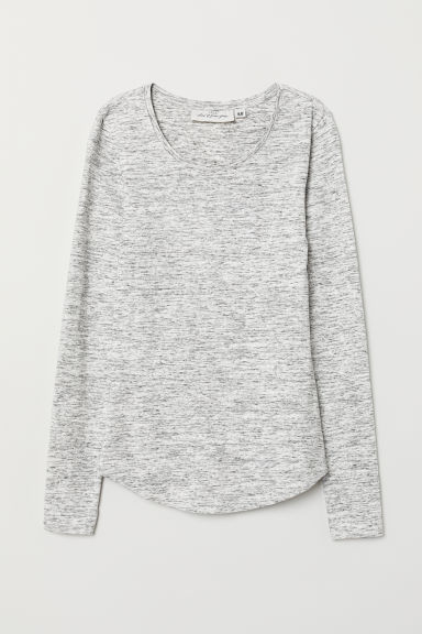Long-sleeved jersey top - Light grey marl - Ladies | H&M