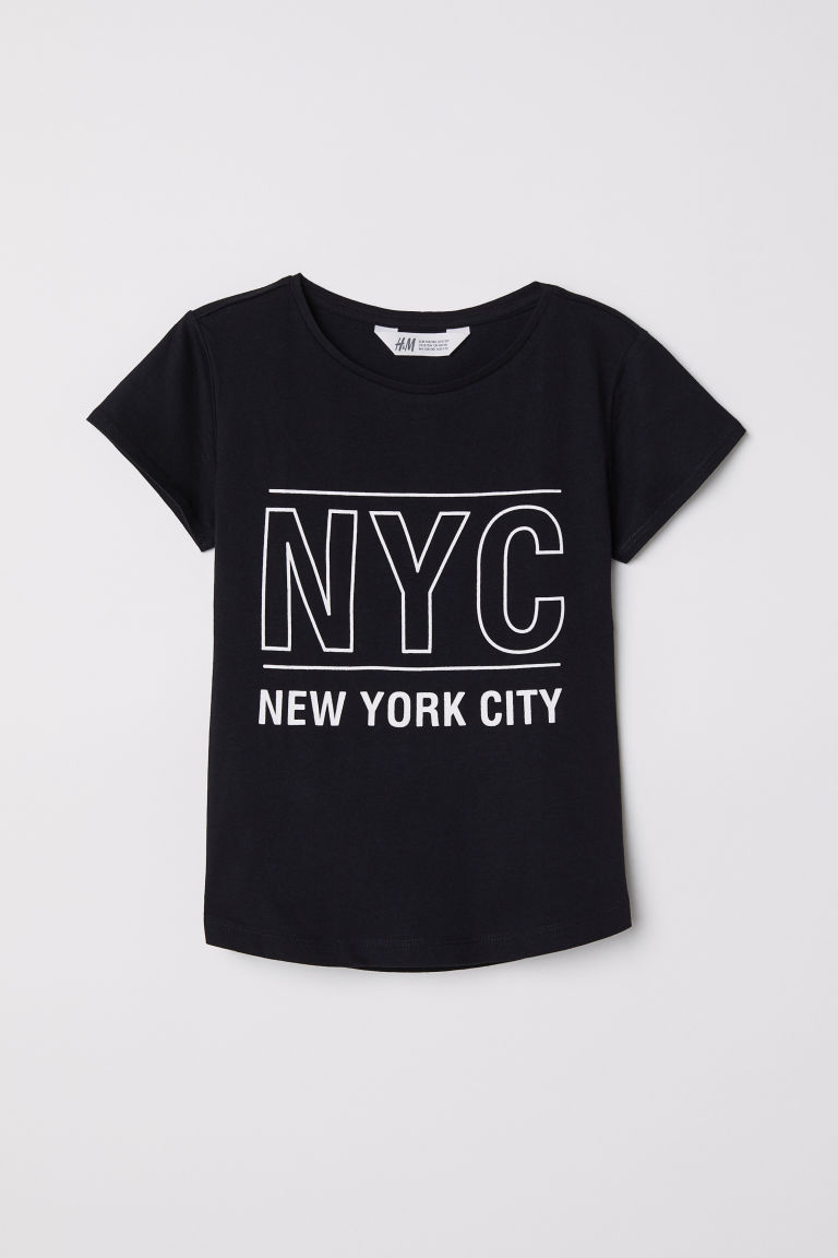 Top in jersey con stampa - Nero/NYC -  | H&M IT
