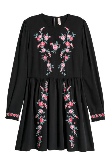Embroidered dress - Black/Flowers -  | H&M