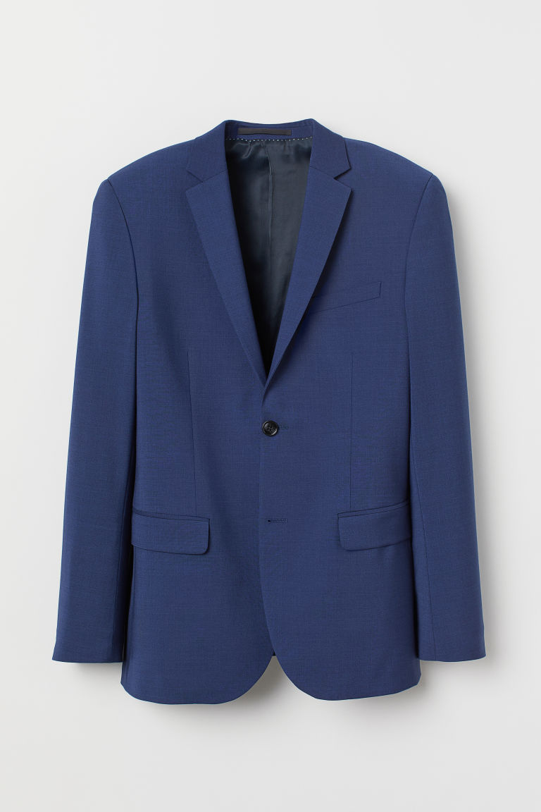 Slim Fit Wool-blend Blazer - Dark blue - Men | H&M CA