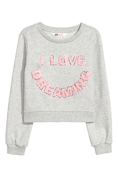 图案卫衣 - 浅灰色/I Love Dreaming - Kids | H&M CN