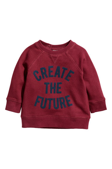 Sweatshirt med tryck - Vinröd/Create the future -  | H&M SE