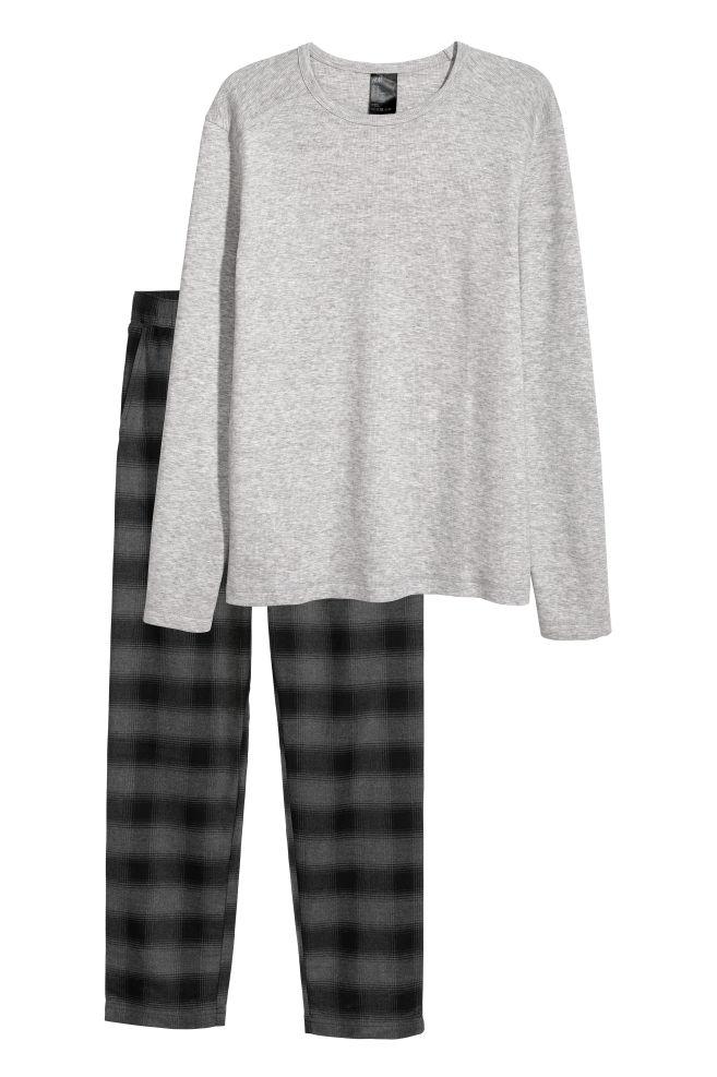 d34e7c2d135f Pyjamas med tröja och byxa - Grå - HERR | H&M ...