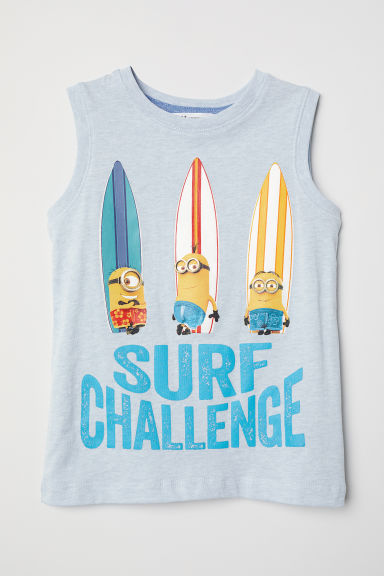 Printed vest top - Light blue/Minions - Kids | H&M