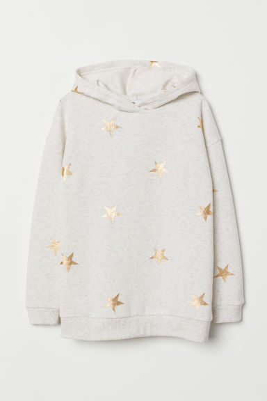Hooded top - Light grey marl/Stars - Kids | H&M