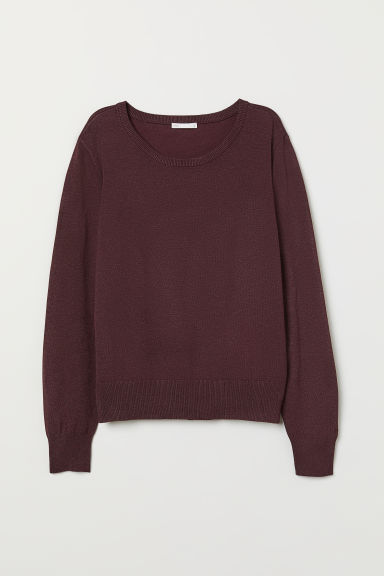 Fine-knit jumper - Dark red marl - Ladies | H&M CN