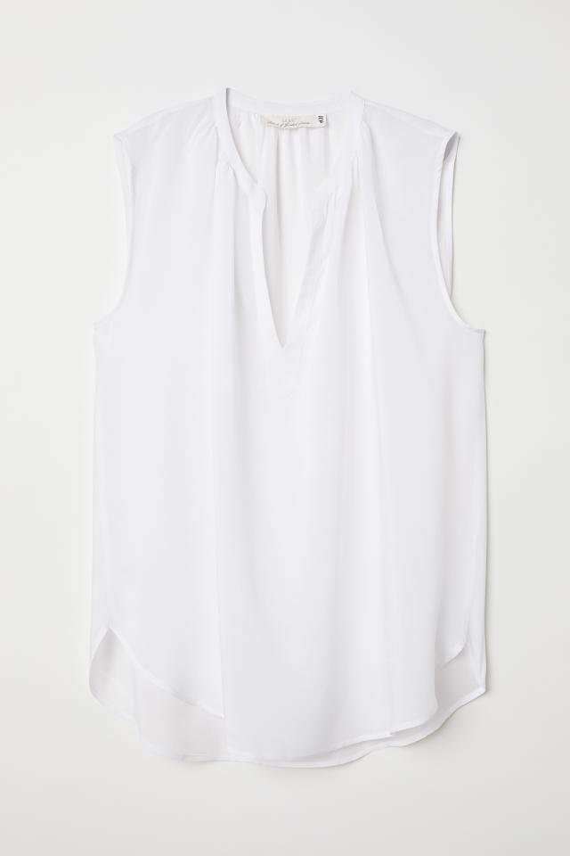 c66b27bde1f6 Ärmellose Bluse - Weiß - Ladies   H M DE