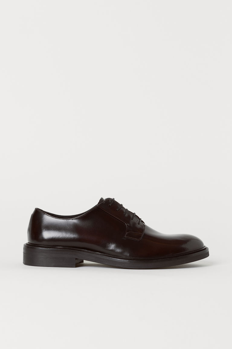 Leather Derby shoes - Oxblood red - Men | H&M