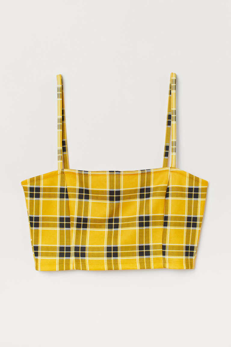 Short Jersey Top - Yellow/checked -  | H&M US