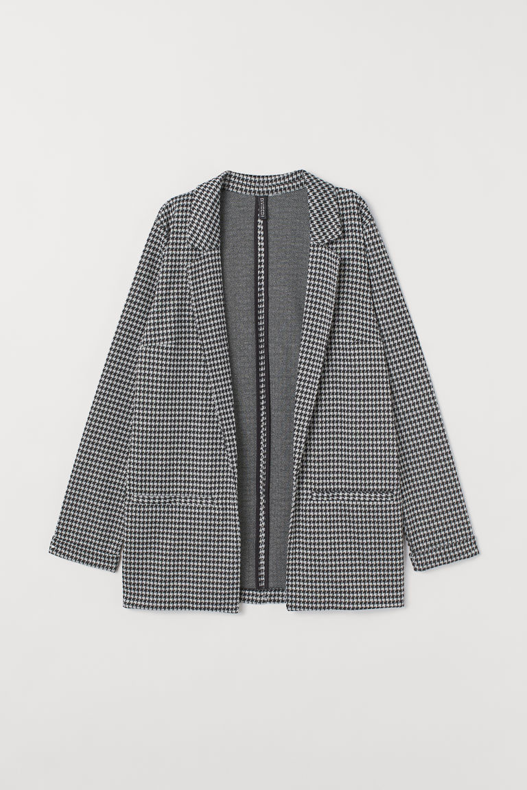 Long jacket - Black/Dogtooth-patterned -  | H&M IN