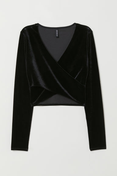 Cropped wrapover top - Black/Velour -  | H&M