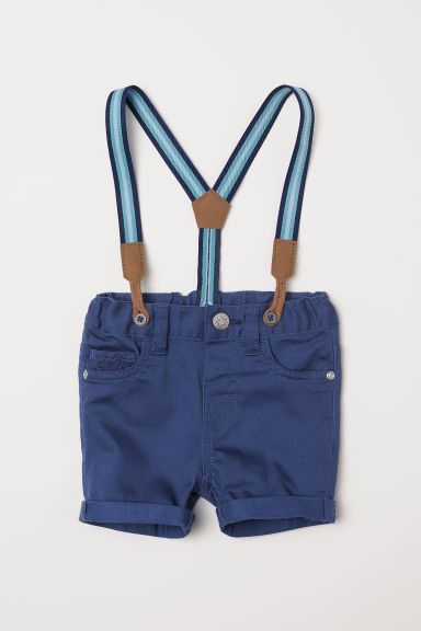 Twill shorts with braces - Blue - Kids | H&M CN