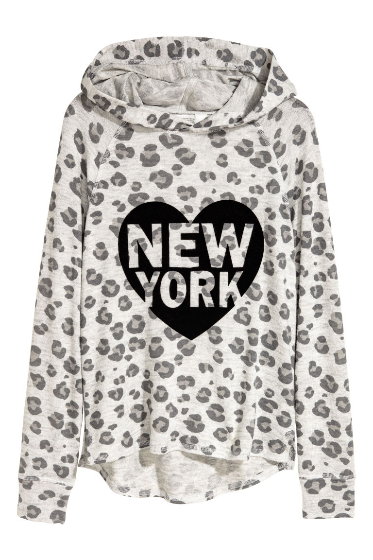 Hooded top with a print motif - Light grey/Leopard print - Kids | H&M CN