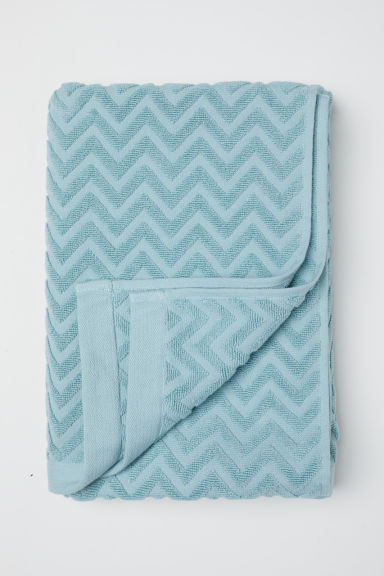 Jacquard-patterned Bath Towel - Light turquoise - Home All | H&M CA