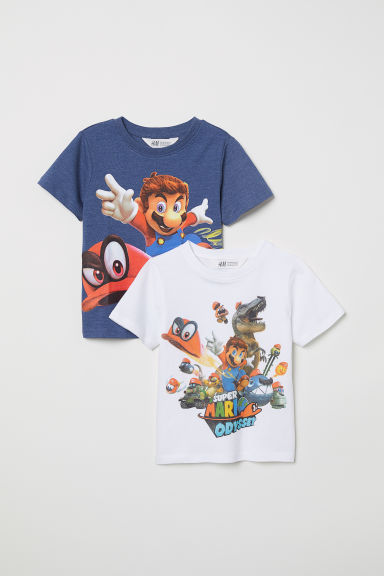 2-pack T-shirts - White/Super Mario - Kids | H&M