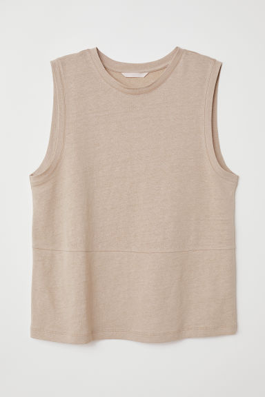 Linen-blend jersey vest top - Beige - Ladies | H&M