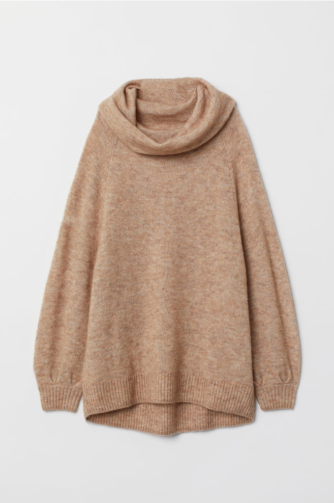 ac53c314c00 Oversized Cowl-neck Sweater - Beige - Ladies