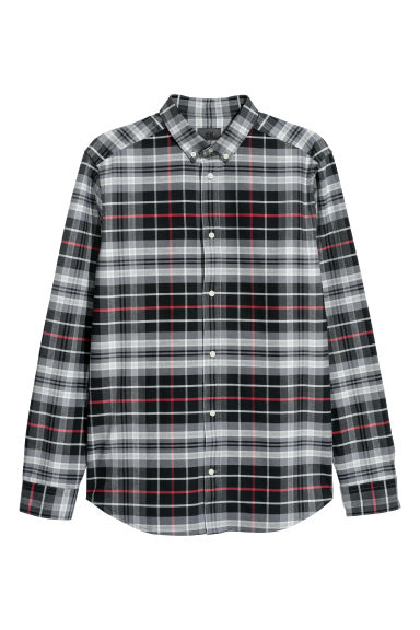 Cotton shirt Regular fit - Black/Checked - Men | H&M GB