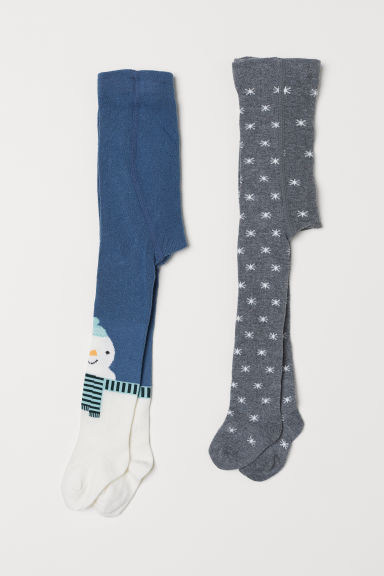 2-pack tights - Dark blue/Snowman - Kids | H&M