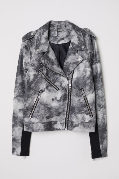 Biker jacket - Dark grey/Patterned -  | H&M CN