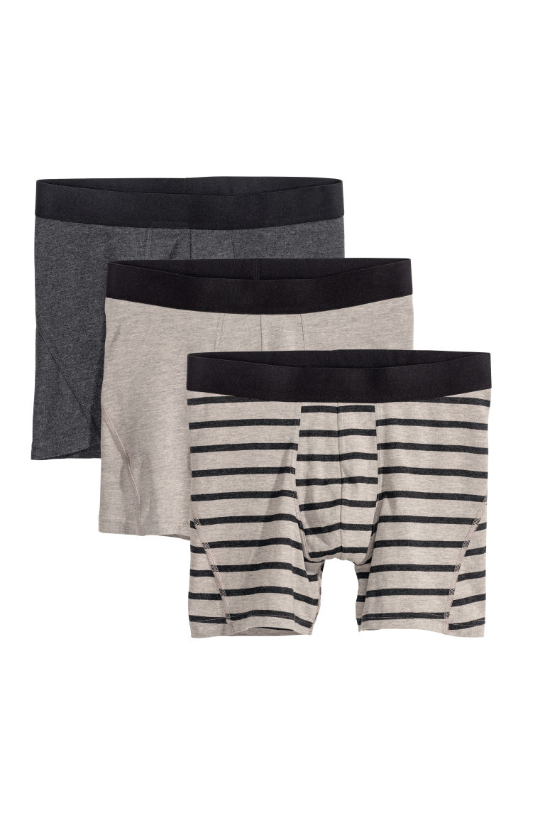 3-pack mid trunks - Gråmelerad - HERR | H&M SE
