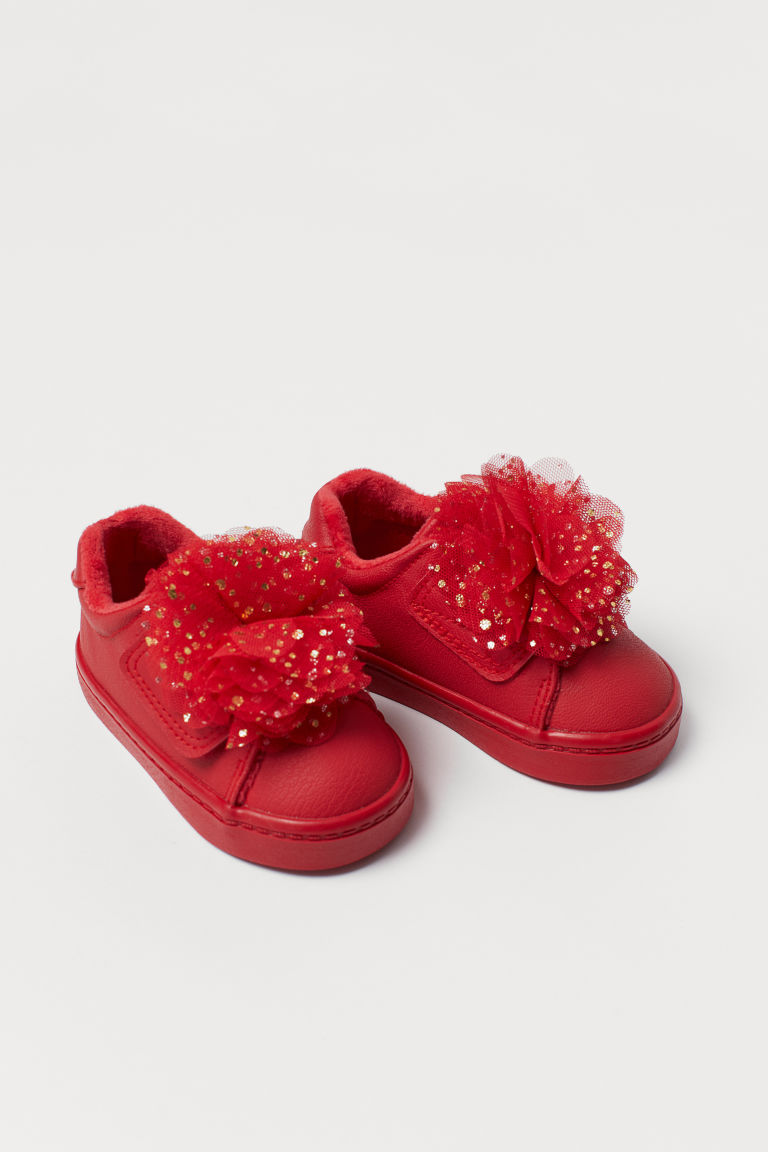 Trainers with a tulle flower - Red - Kids | H&M CN