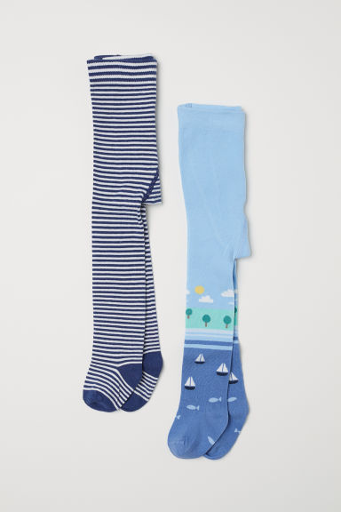 2-pack tights - Dark blue/Striped - Kids | H&M