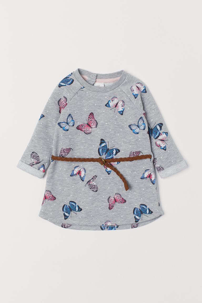 Sweatshirt dress - Grey marl/Butterflies - Kids | H&M CN