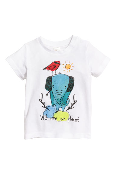 Katoenen T-shirt - Wit/olifant - KINDEREN | H&M BE