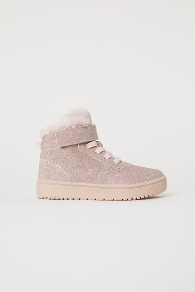 Pile-lined hi-tops - Powder pink/Glittery -  | H&M