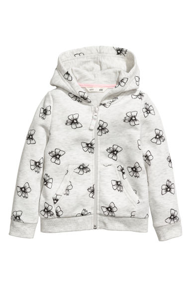 Hooded jacket - Light grey/Bows - Kids | H&M
