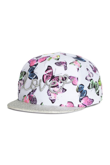 Cap with a glittery peak - White/Glittery -  | H&M