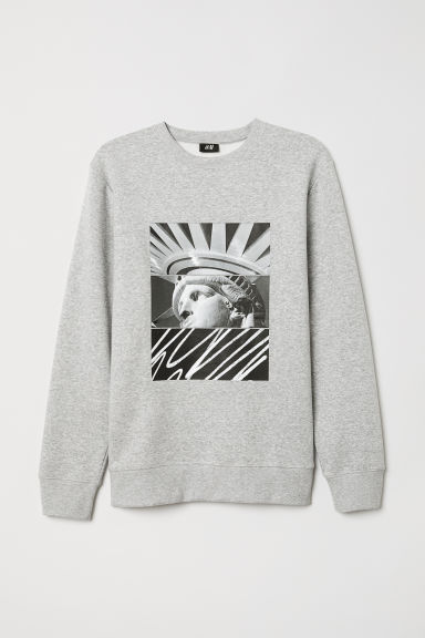 Printed sweatshirt - Grey marl/Statue of Liberty - Men | H&M