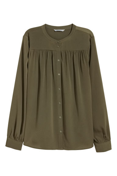 Long-sleeved blouse - Khaki green - Ladies | H&M