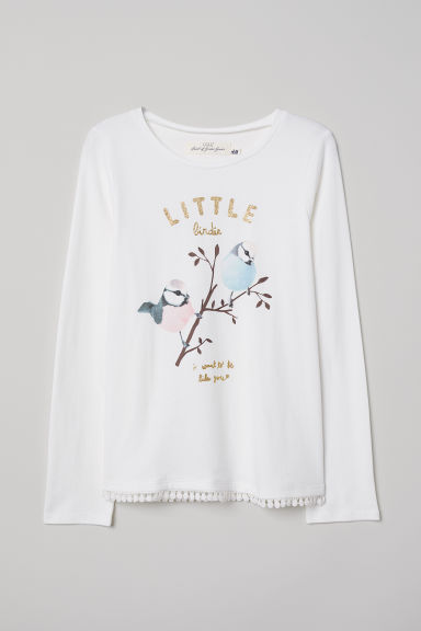 Tricot top met print - Wit/vogels -  | H&M BE