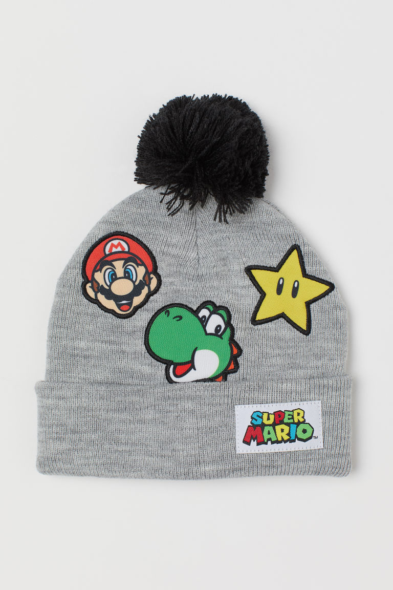 Hat with reversible sequins - Light grey marl/Super Mario - Kids | H&M