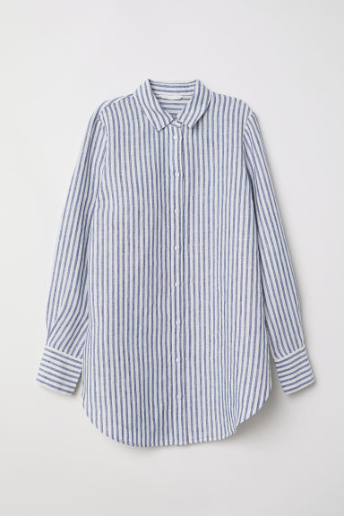 Linen shirt - Blue/White striped -  | H&M