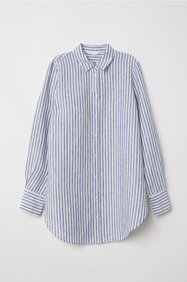 2725f26ab16 Linen shirt - Blue White striped - Ladies