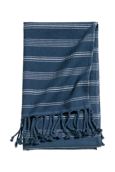 Striped bath towel - Dark blue/White striped -  | H&M IE