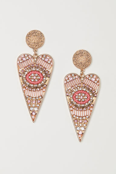 Long earrings - Pink/Gold-coloured - Ladies | H&M CN