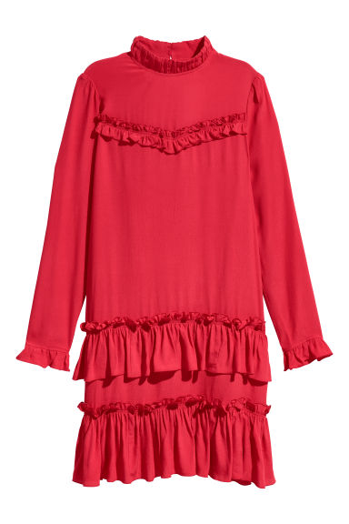 Flounced crêpe dress - Red - Ladies | H&M CN