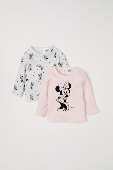 2-pack jersey tops - Light pink/Minnie Mouse - Kids | H&M CN