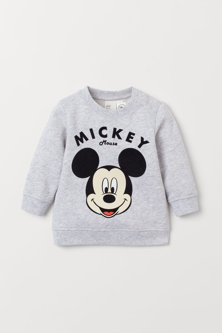 Printed sweatshirt - Light grey marl/Mickey Mouse - Kids | H&M IE