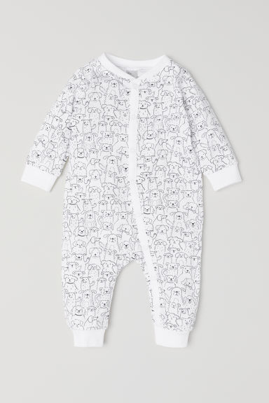 All-in-one jersey pyjamas - White/Patterned -  | H&M