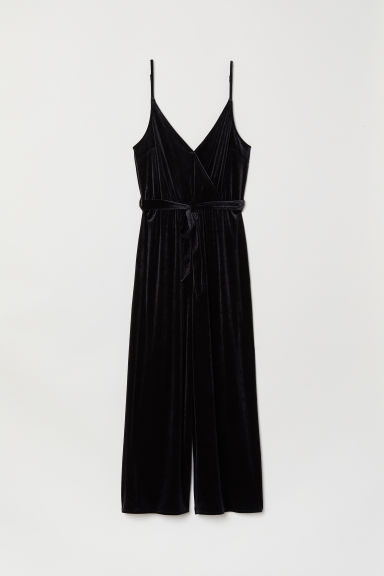 Velour Jumpsuit - Black -  | H&M US