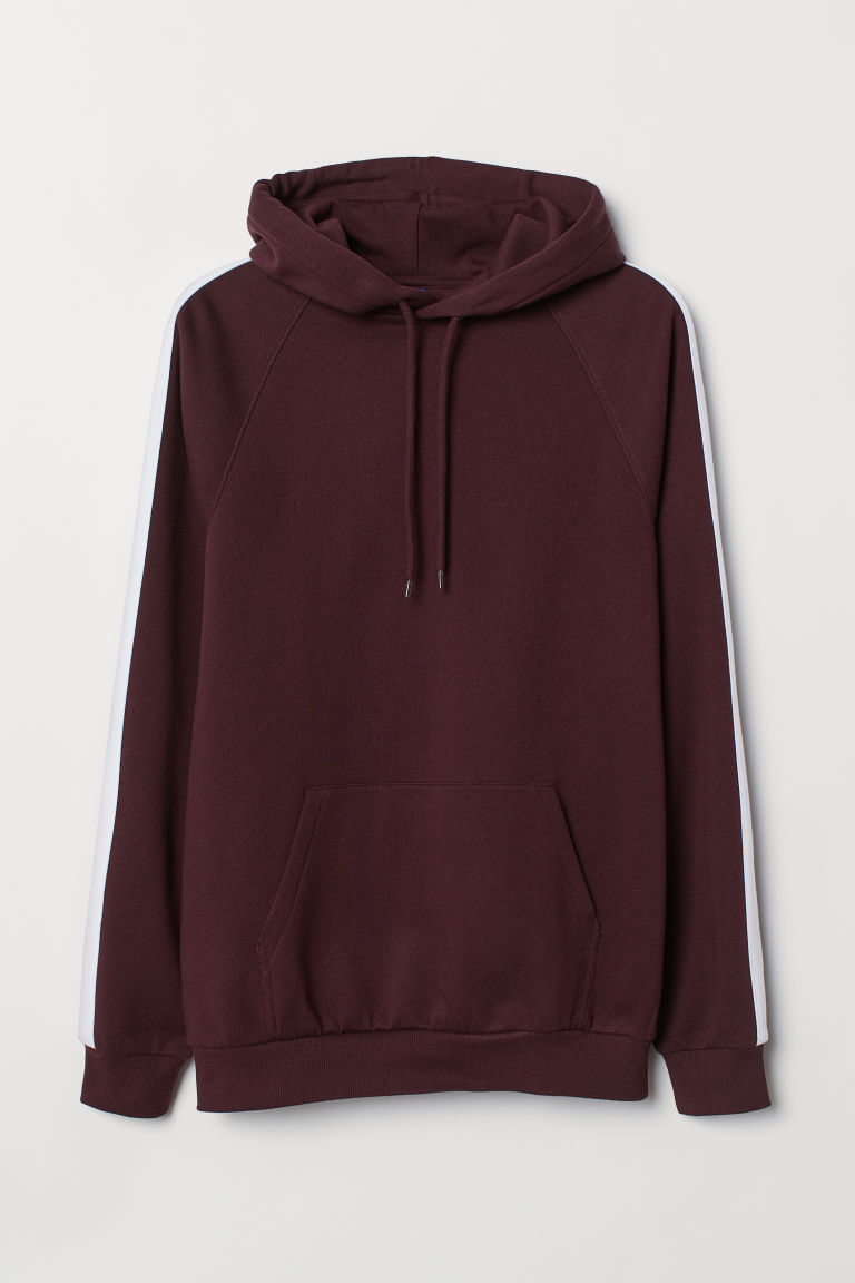 Hooded Shirt with Side Stripes - Burgundy - Men | H&M CA
