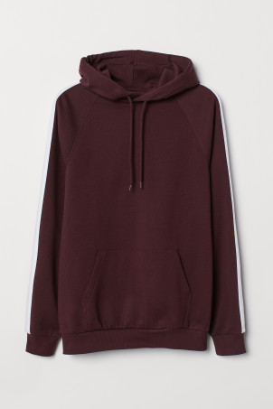 Hooded top with sleeve stripes